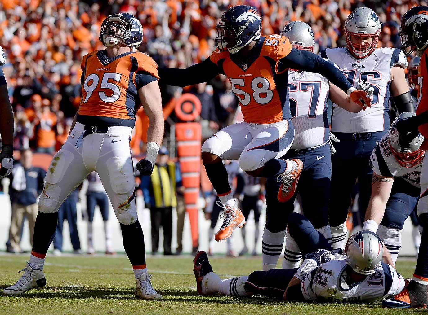 Derek Wolfe celebrates a sack of Tom Brady.