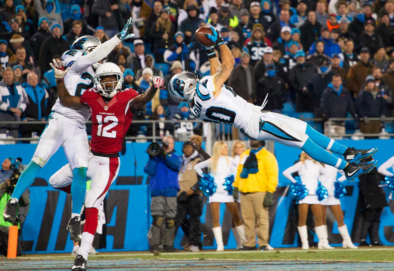 Carolina Panthers free safety Kurt Coleman makes an interception against the Arizona Cardinals.