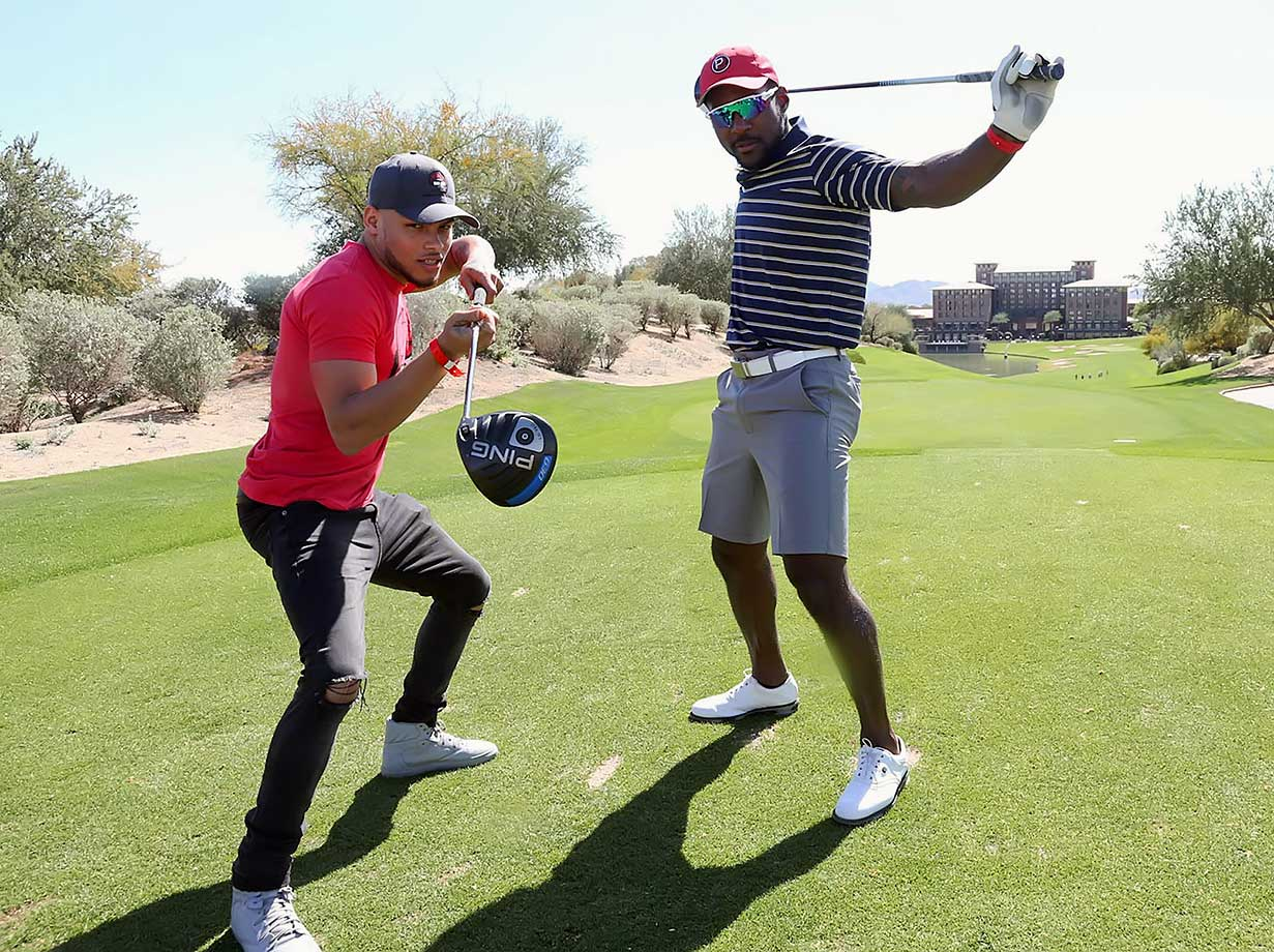 Tyrann Mathieu and Patrick Peterson strike a pose at the 3rd Annual Arians Family Foundation Arizona Celebrity Golf Classic in Scottsdale, Ariz.
