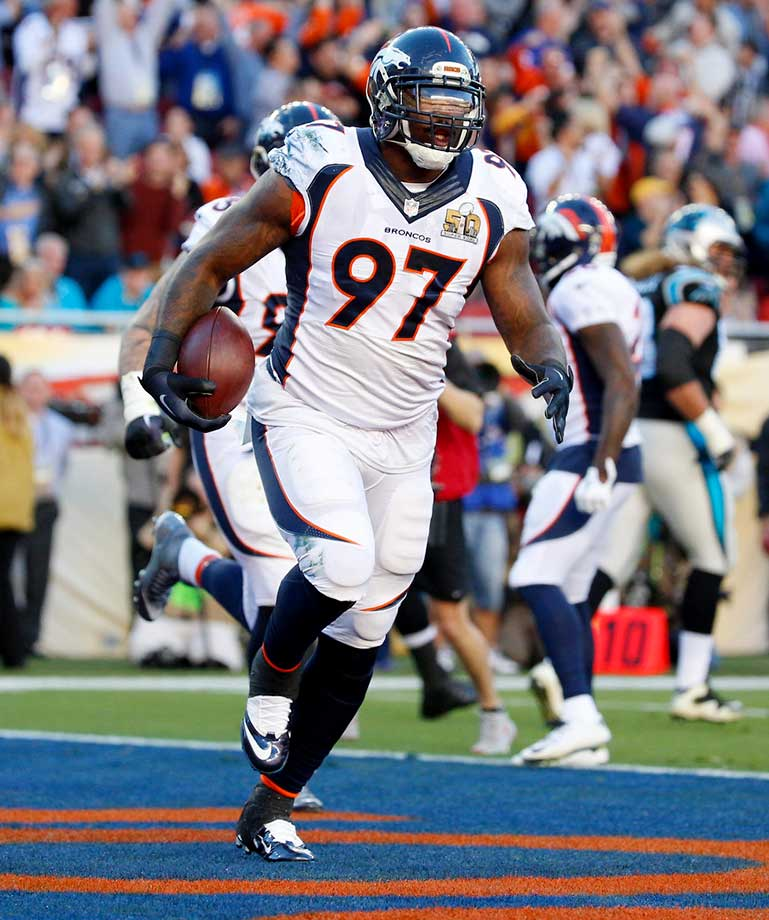 Malik Jackson's score was Denver's first defensive touchdown in a Super Bowl.