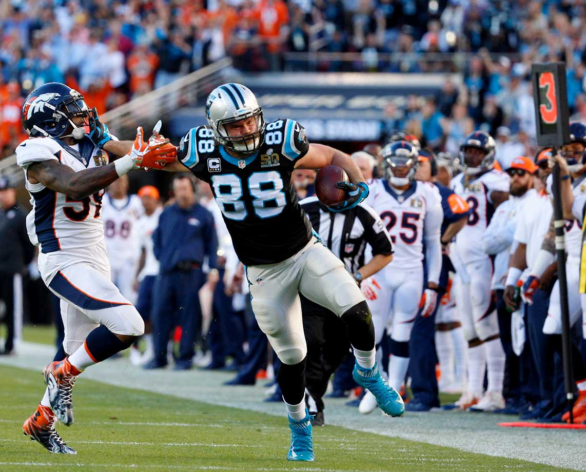 Greg Olsen was held in check with 41 yards on four receptions.