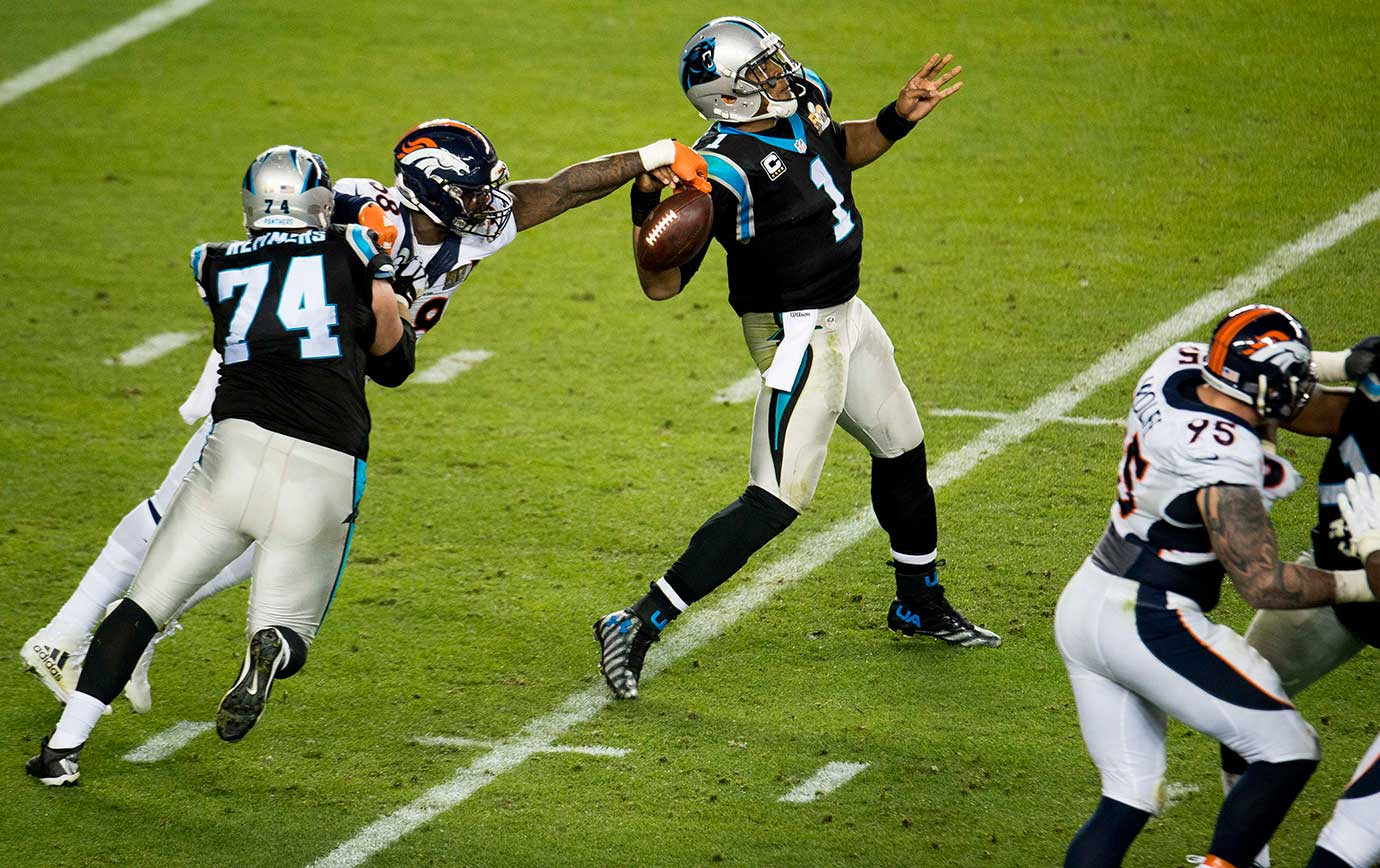 Von Miller forces Cam Newton to fumble.