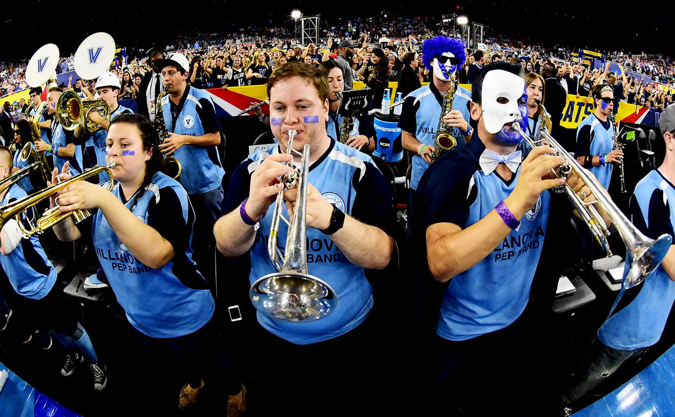 The Villanova band before the start of the game.