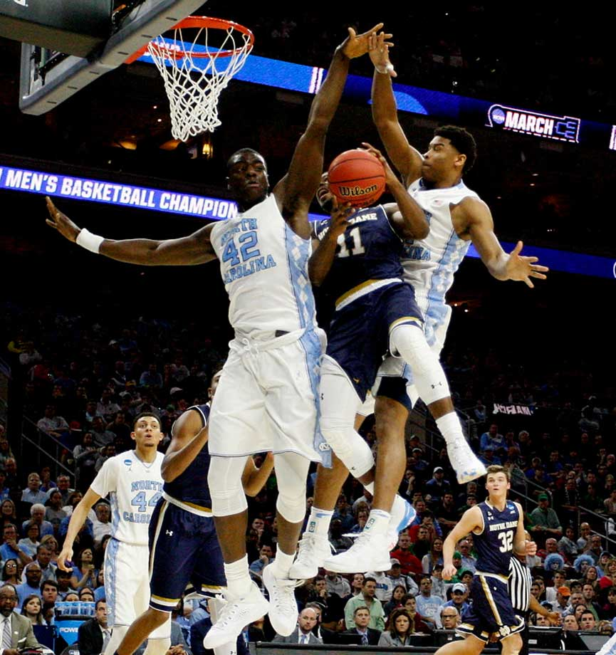 Joel James (42) and the North Carolina Tar Heels became the lone one seed to reach this year's Final Four with their 88-74 win over Demetrius Jackson (11) and Notre Dame.