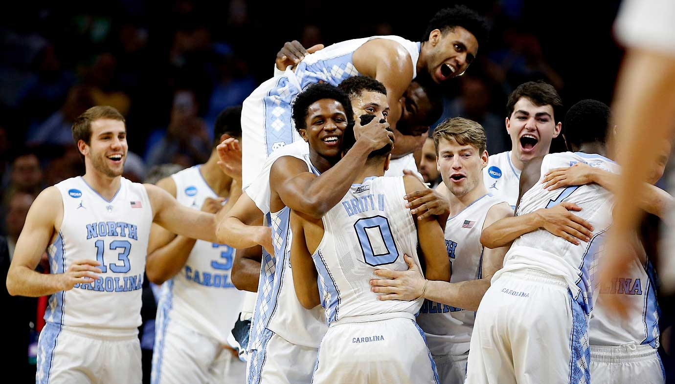 The North Carolina bench in celebration mode after the win over Notre Dame.