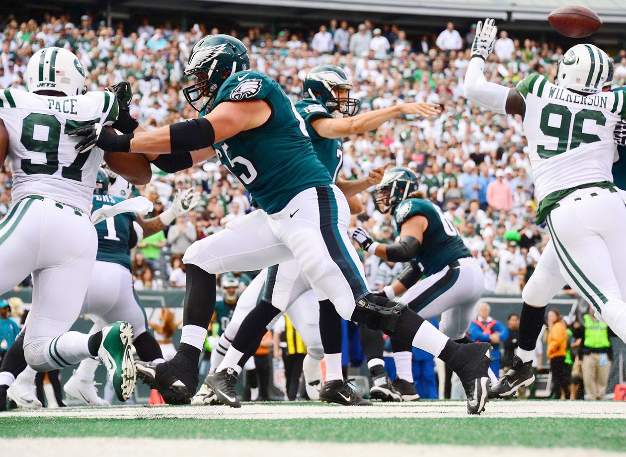 Sam Bradford is hurried by defensive end Muhammad Wilkerson of the New York Jets.