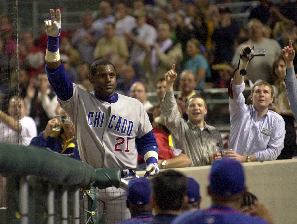 The only player with three 60-homer seasons, Sosa holds the record for most home runs over a five-year span (292 between 1998-2002). Sosa became the 18th member of the club on April 4, 2003, with a solo shot at Cincinnati off reliever Scott Sullivan.
