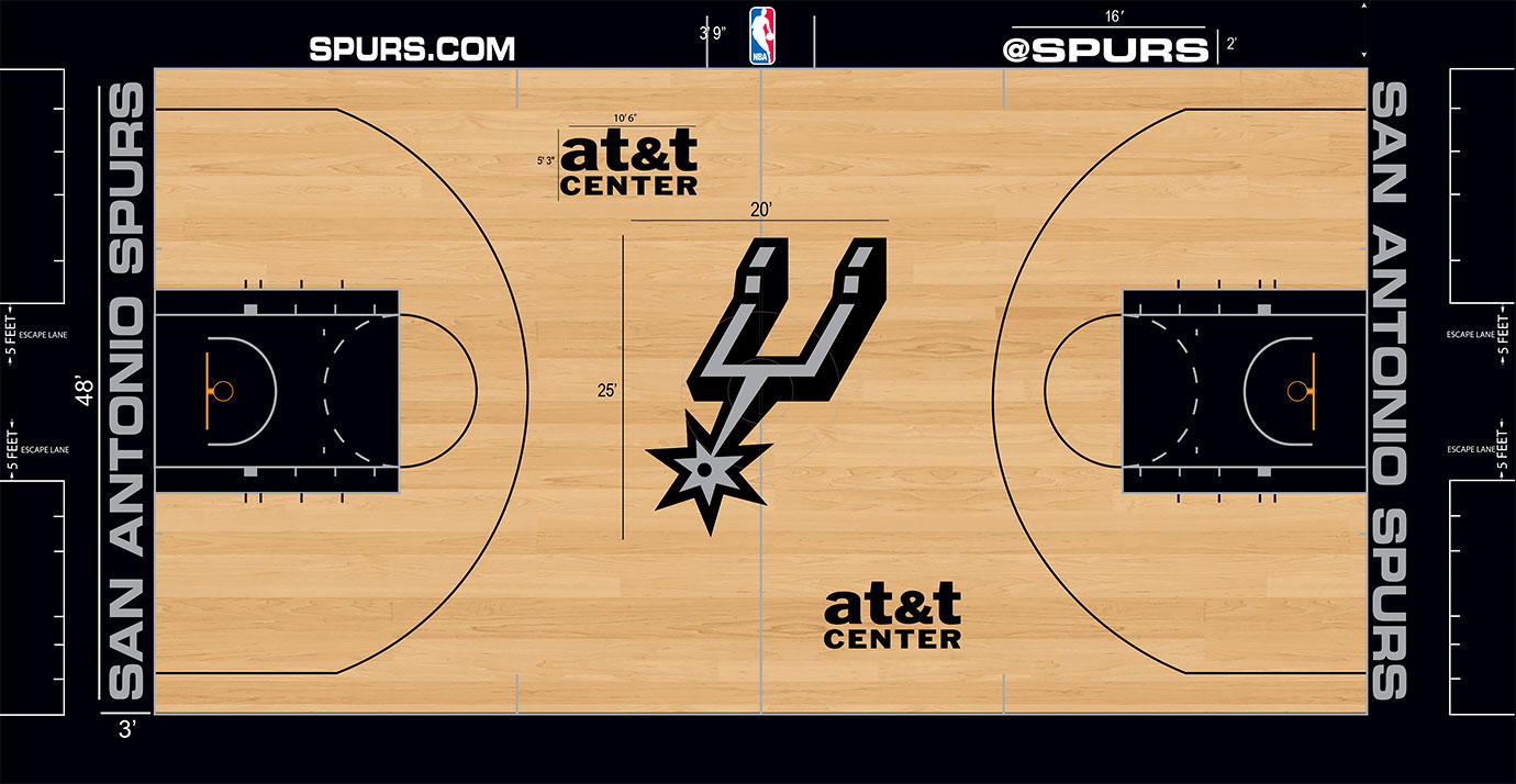 The court remains simple and classic, just like the team. The recent change to a giant spur logo in the middle—the spur stretches 25 feet tall and 20 feet wide, the largest height the league—proves a nice upgrade.
