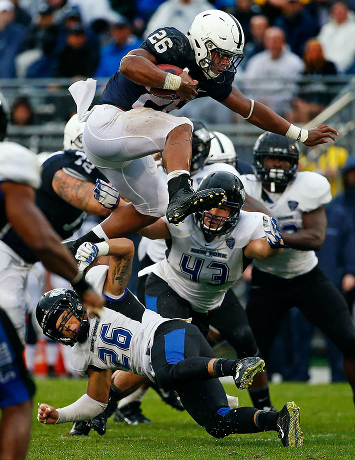 Barkley rushed for 1,076 yards and seven touchdowns as a true freshman at Penn State. He was the only true freshman to earn AP first- or second-team All-Big Ten honors.