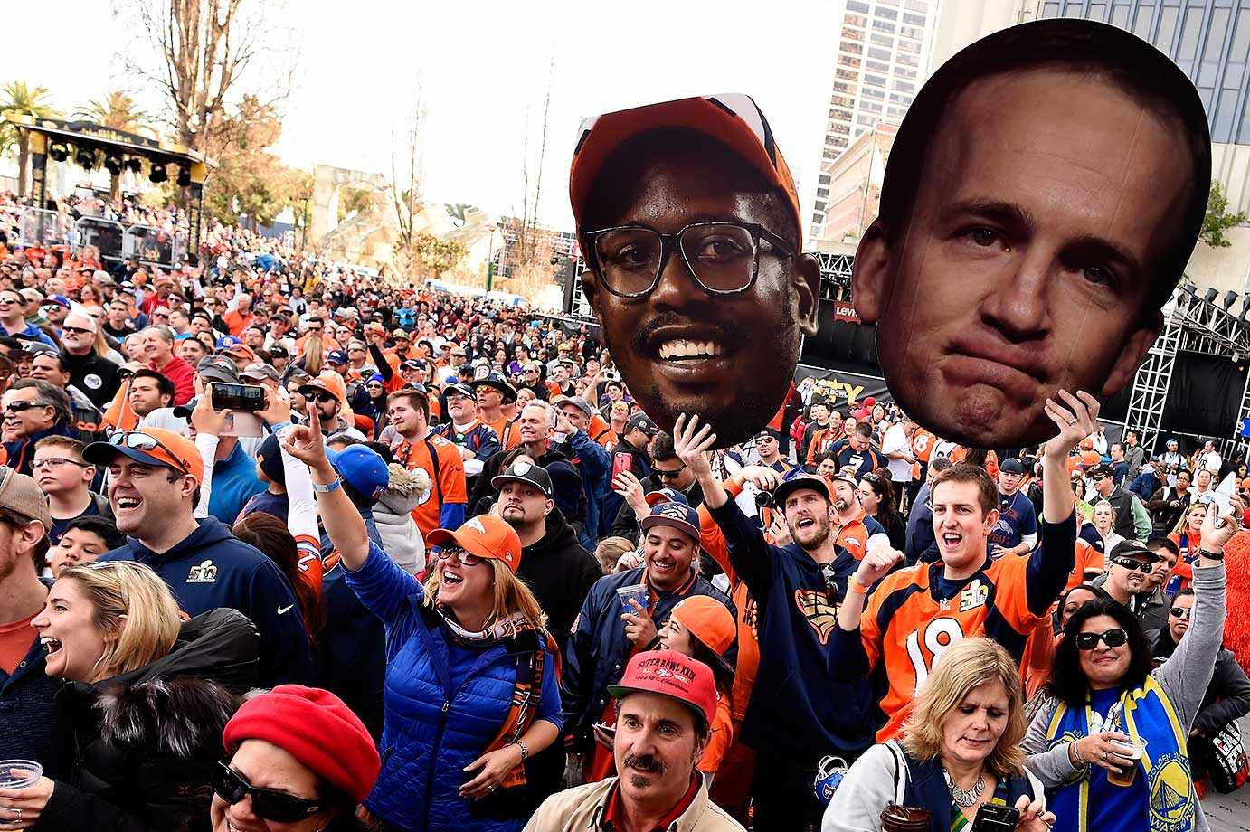 Thousands of Denver Broncos fans rally in Super Bowl City on Saturday.