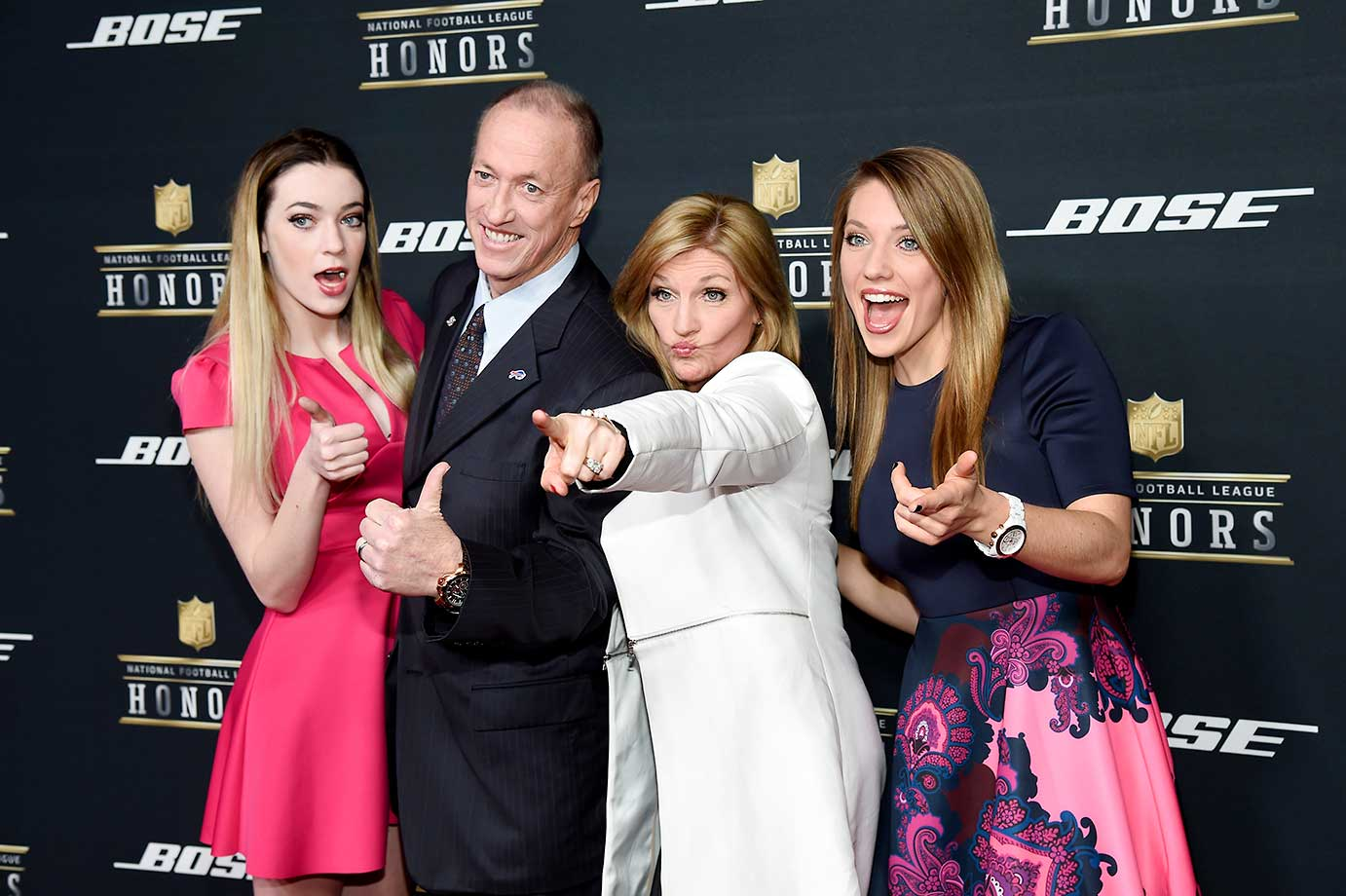 Former NFL player Jim Kelly with Jill Kelly, Camryn Kelly and Erin Kelly at the 5th annual NFL Honors program.