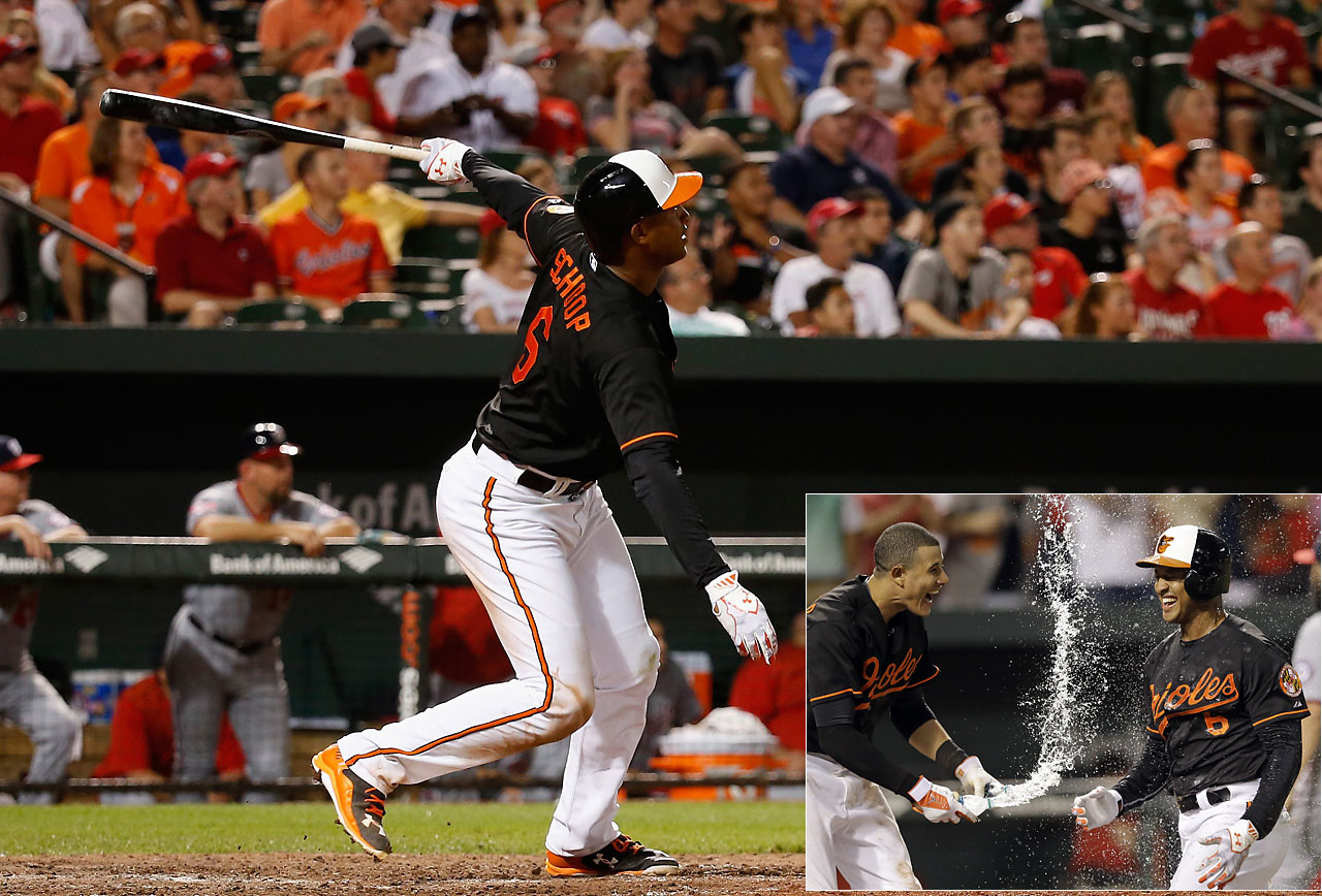 Jonathan Schoop's first career walk-off hit, a solo home run in the ninth inning, gave the Baltimore Orioles a 3-2 win over the Washington Nationals on July 10.