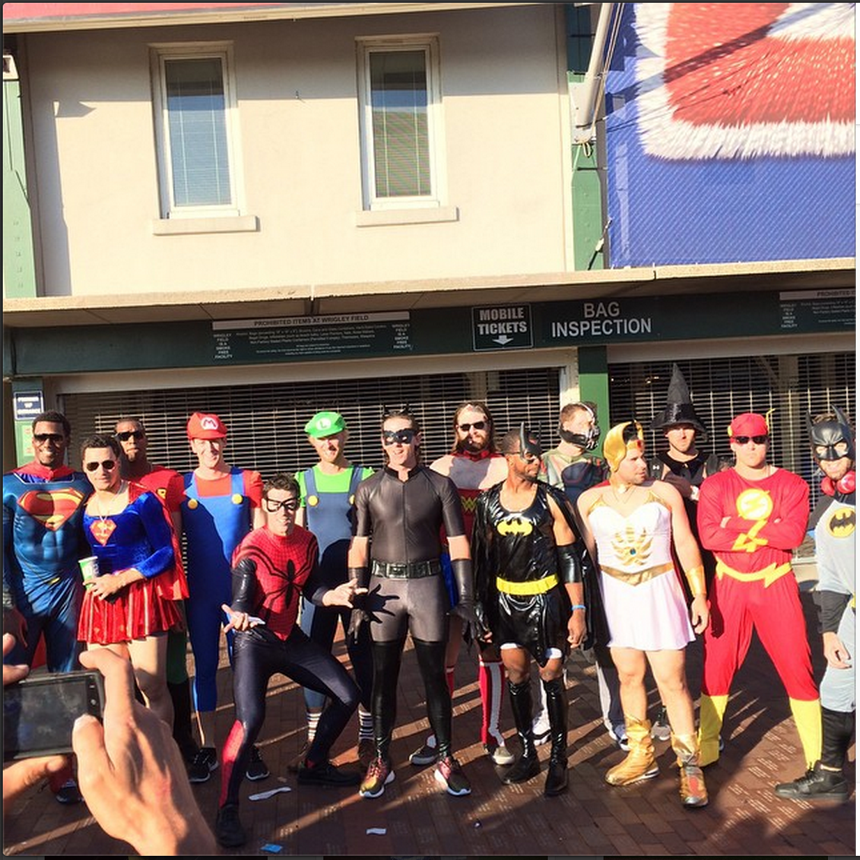 Cubs rookies had the freedom of choosing superhero costumes of either gender (plus one errant witch).