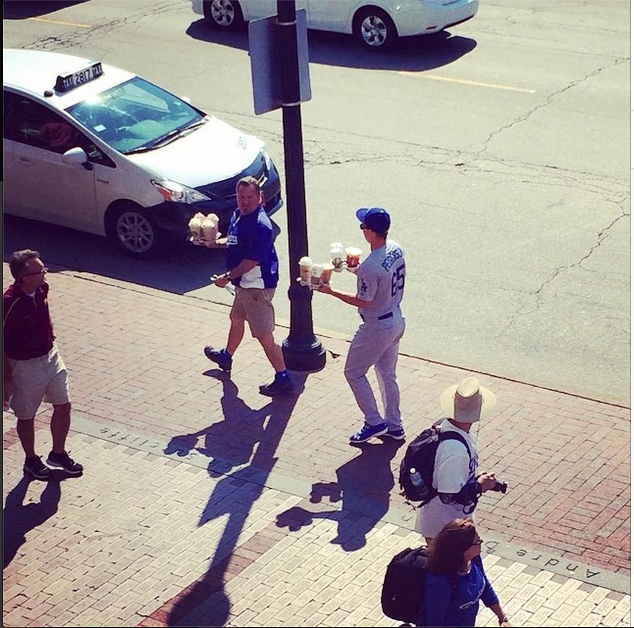 Dodgers OF Joc Pederson got to dress as himself during a team Starbucks run.