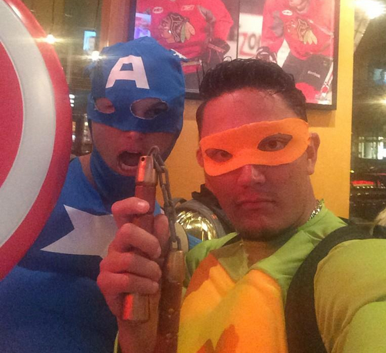 Pederson, here with teammate Miguel Rojas, had already done time as Captain America.