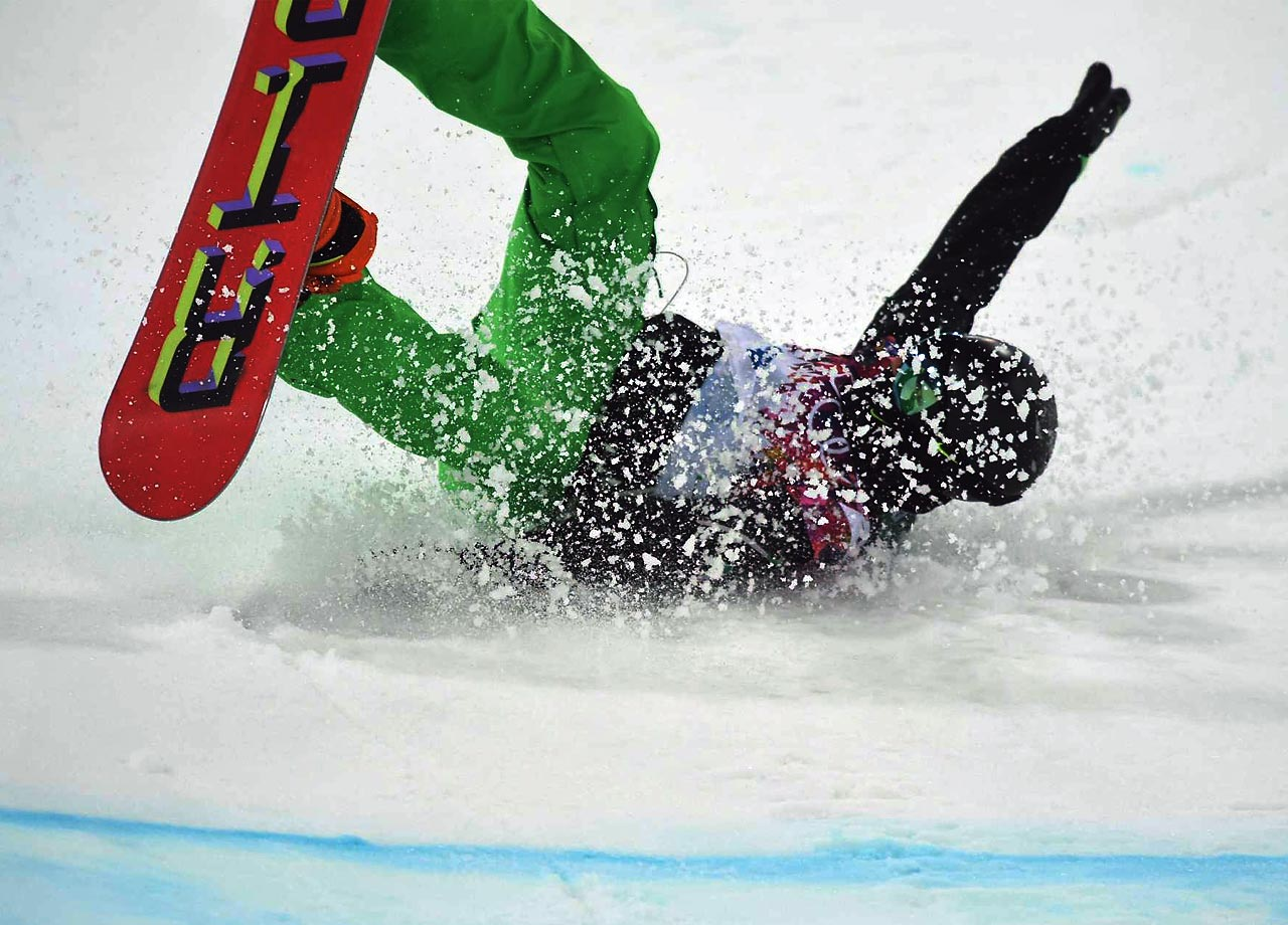 Seamus O'Connor of Ireland takes a spill during Tuesday's competition.