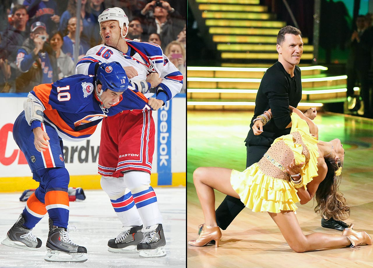 "Johnny: ""He really always reminds me of a hockey player who is a really good dancer."" —                                      Tara: ""I'm not a fan!"""