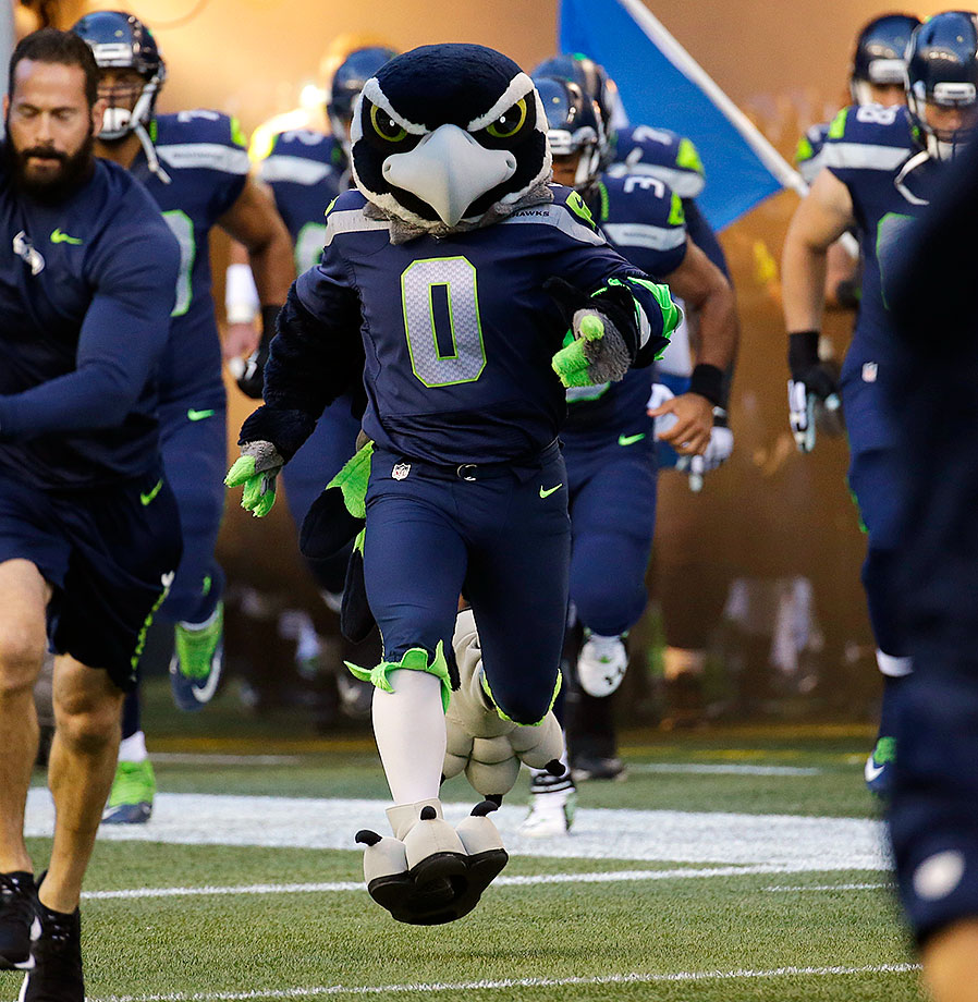 "This seahawk already knows he has you beat. He has that cocky grin and pushed-out chest of an older brother that constantly asks you why you keep hitting yourself. We would not be surprised to see Blitz co-star in the next ""Expendables"" movie."