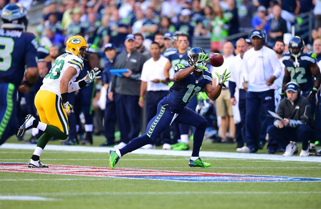 Percy Harvin caught seven passes for 59 yards, ran four times for 41 yards and handled kickoff return duties for Seattle.