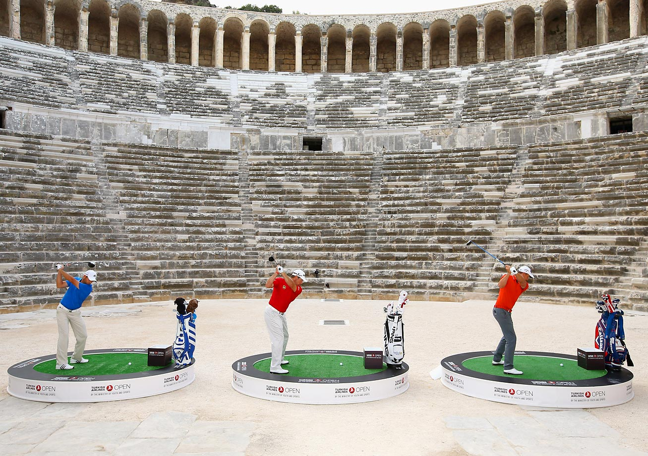Sergio Garcia, Henrik Stenson and Lee Westwood take on the challenge of hitting golf balls over the towering walls of the 2,000 year-old Amphitheater of Aspendos.  The event was to promote the launch of the 2014 Turkish Airlines Open in Antalya, Turkey.