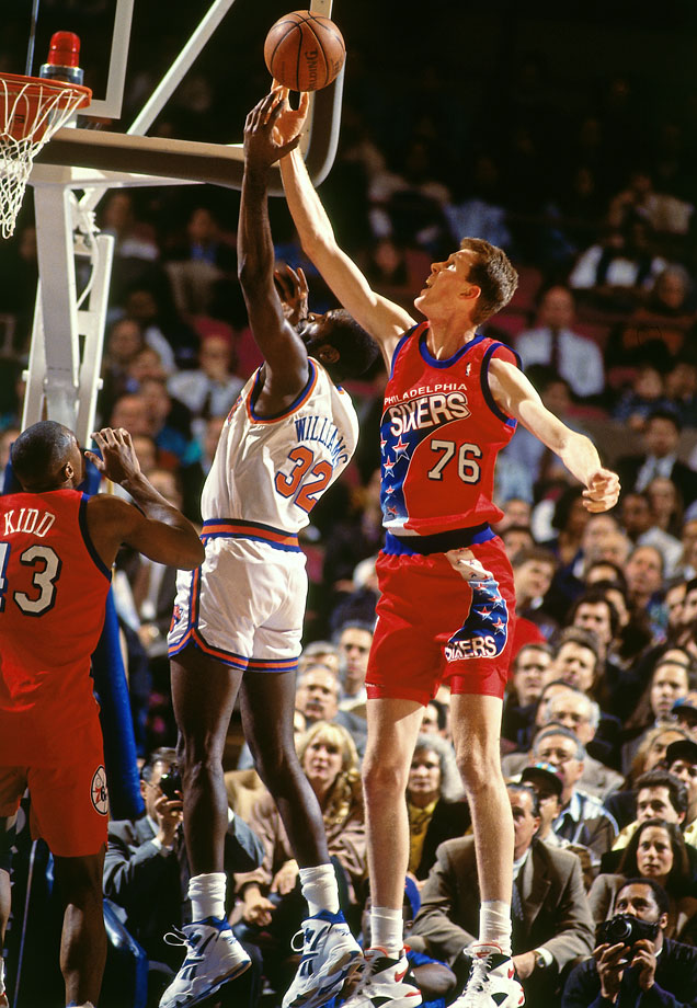 The No. 2 overall pick in the 1993 draft, Bradley elected to wear No. 76 with the Sixers to pay homage to his height. He also led the league in blocks in 1997.