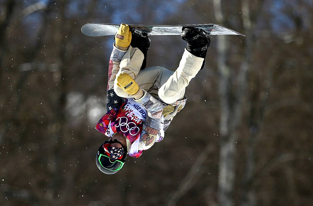 Snowboarder Shaun White of the United States practices during a training session.
