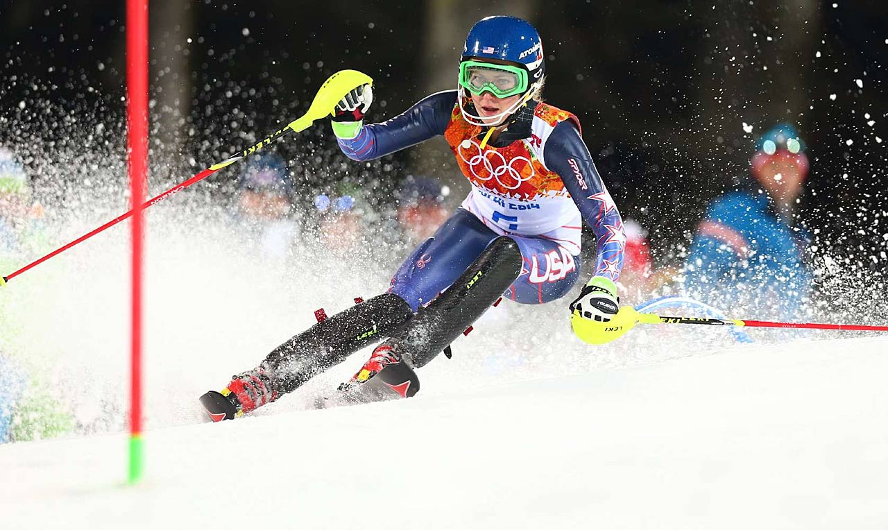 Shiffrin claimed the record for youngest Olympic slalom champion, male or female, from Paoletta Magoni of Italy, who won gold at the 1984 Sarajevo Games when she was 19. (AP)