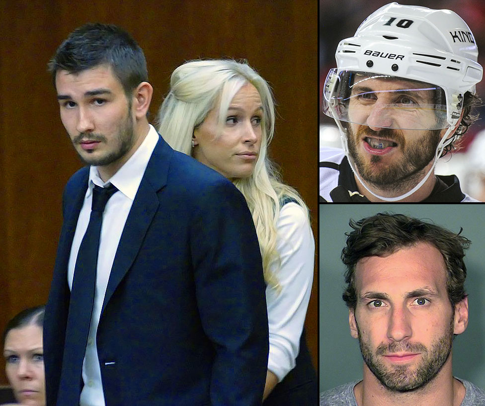 A lost season took a turn for the worse after the defending champion Kings were eliminated from playoff contention. In April, veteran center Jarret Stoll (bottom right) was arrested after admitting to the possession of cocaine and MDMA. In June, Mike Richards (top right) was stopped at the Canadian border and later charged with possession of a controlled substance. In September, Slava Voynov was deported to his native Russia after serving 90 days in prison for domestic abuse, essentially ending his NHL carer. Richards and Stoll are no longer Kings, too.
