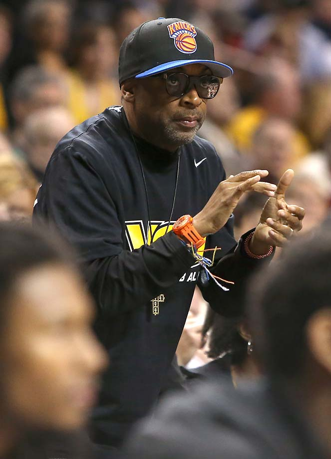 Spike Lee looks on from the stands during the 2014 Atlantic-10 championship game between Virginia Commonwealth and Saint Joseph at Barclays Center in Brooklyn.