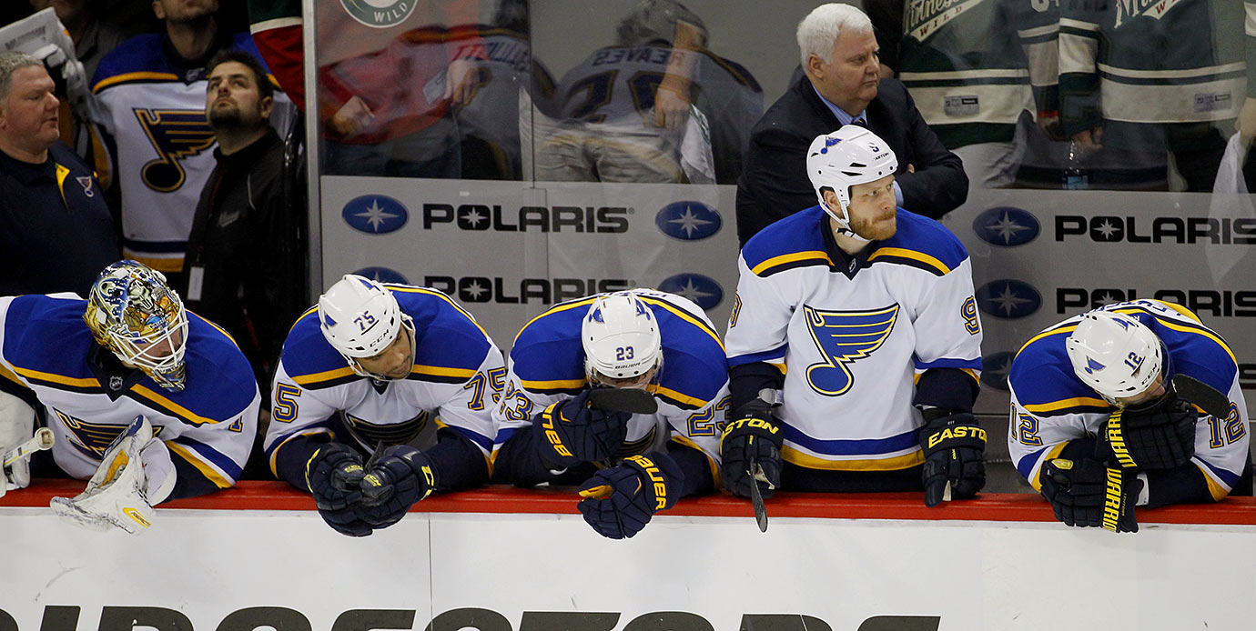 Forget about winning the four consecutive playoff rounds it takes to capture the Cup. It'll be a stunner if the Blues can sneak past in the first round. That's a trick that St. Louis has managed just once in the past 13 seasons, despite finishing first or second in their division six times during that span.