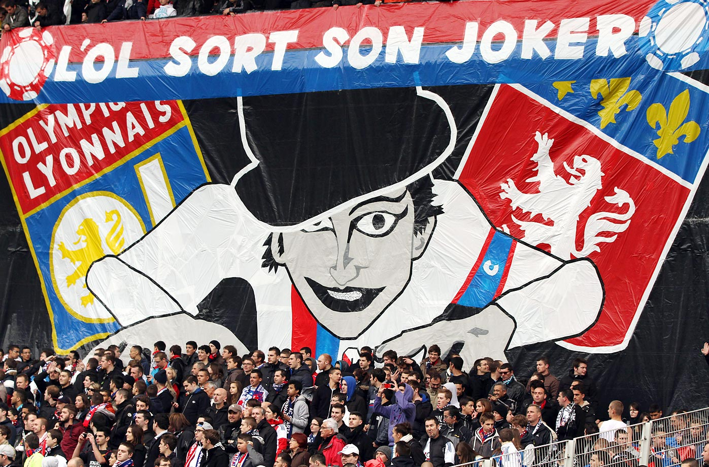 Lyon fans during a game against Saint Etienne.