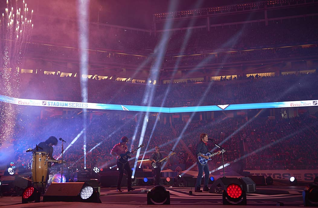 Musical entertainment has been a staple at outdoor games. The Kings-Sharks tilt at Levi's Stadium featured former Creedence Clearwater Revival front man John Fogerty (seen here) as well as Melissa Etheridge.
