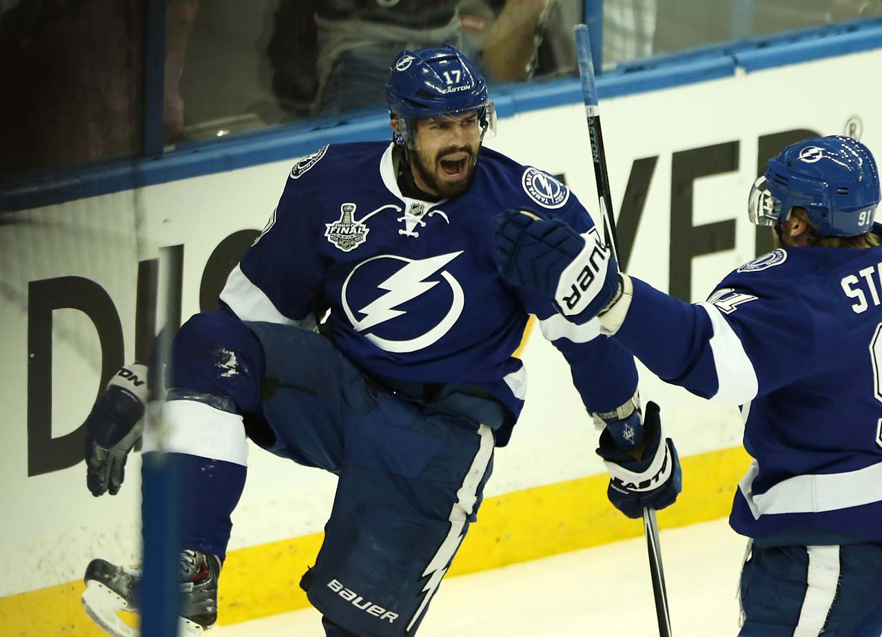 Alex Killorn celebrates after scoring the first goal of the game.