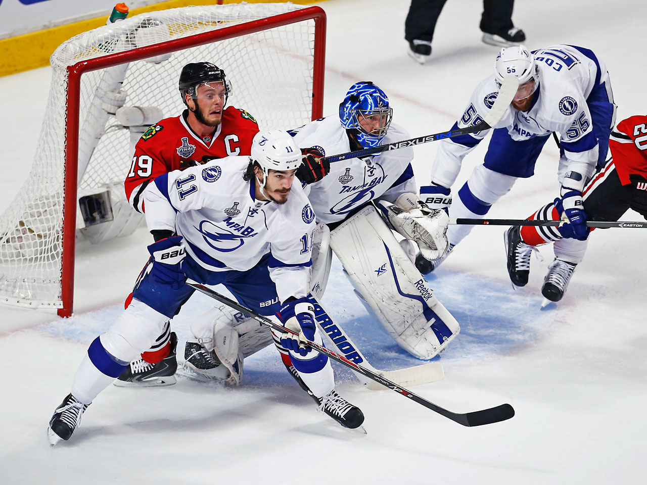 Ben Bishop made 36 saves in a gutsy performance after he was questionable coming into the game. (Text credit: AP)