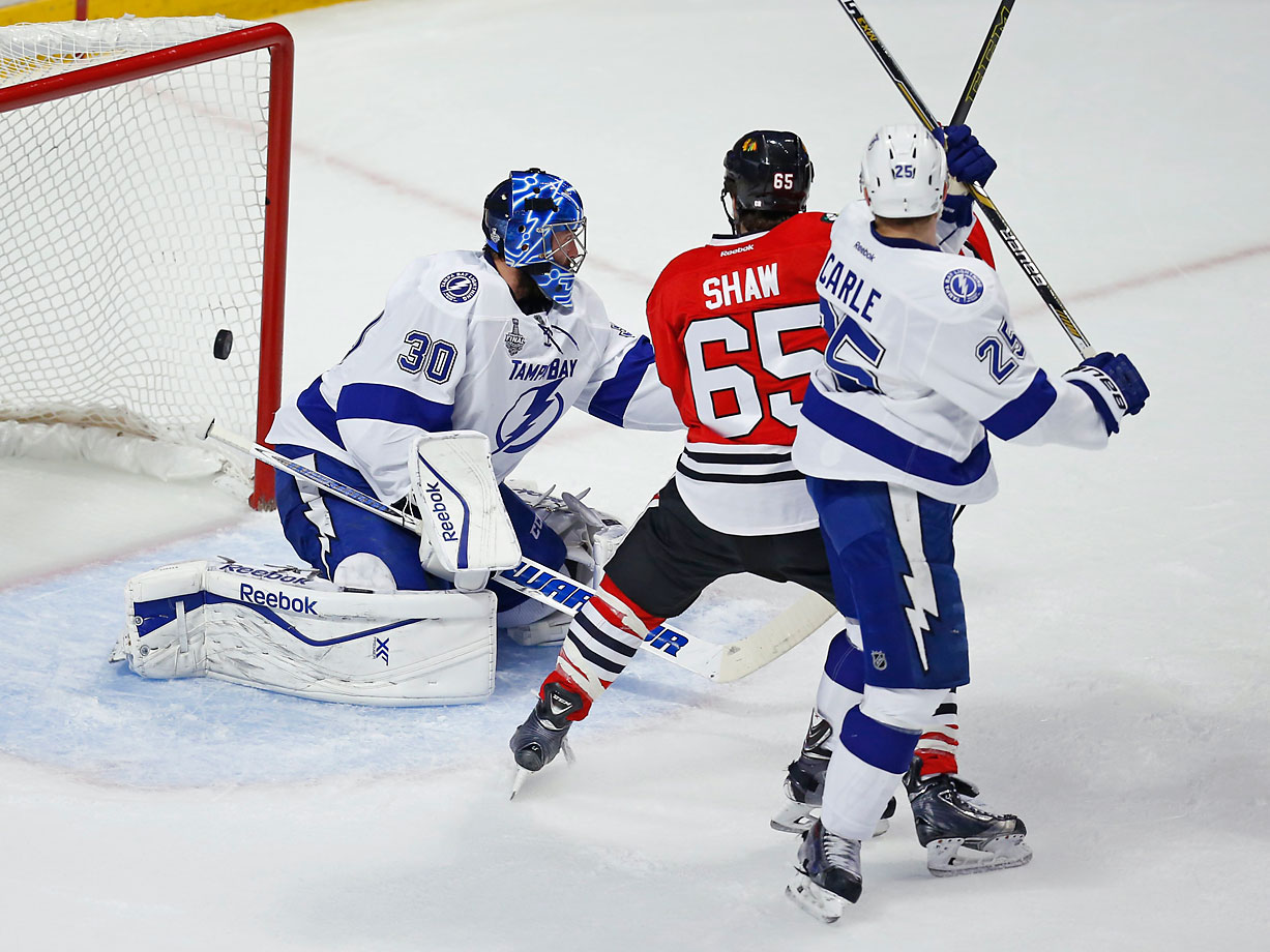This shot by Brad Richards (not pictured) goes in to tie the game at 1-1.
