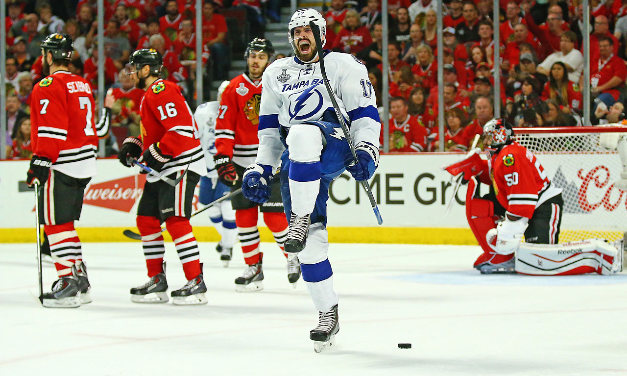 Alex Killorn celebrates after scoring Tampa Bay's first and only goal.