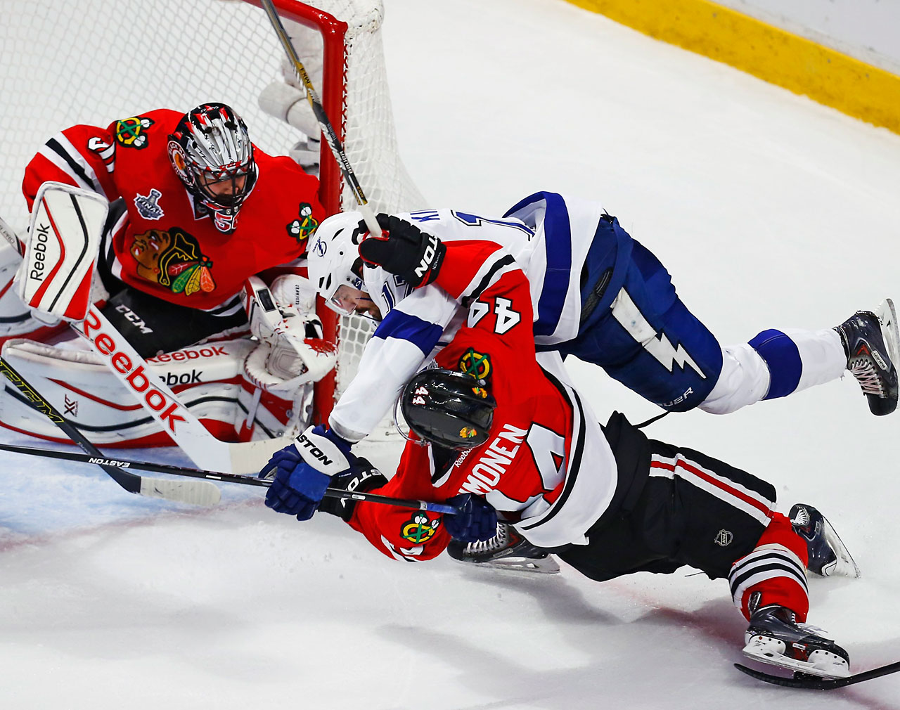 Kimmo Timonen of the Blackhawks missed the first three games of this series but got Alex Killorn's attention on Wednesday.