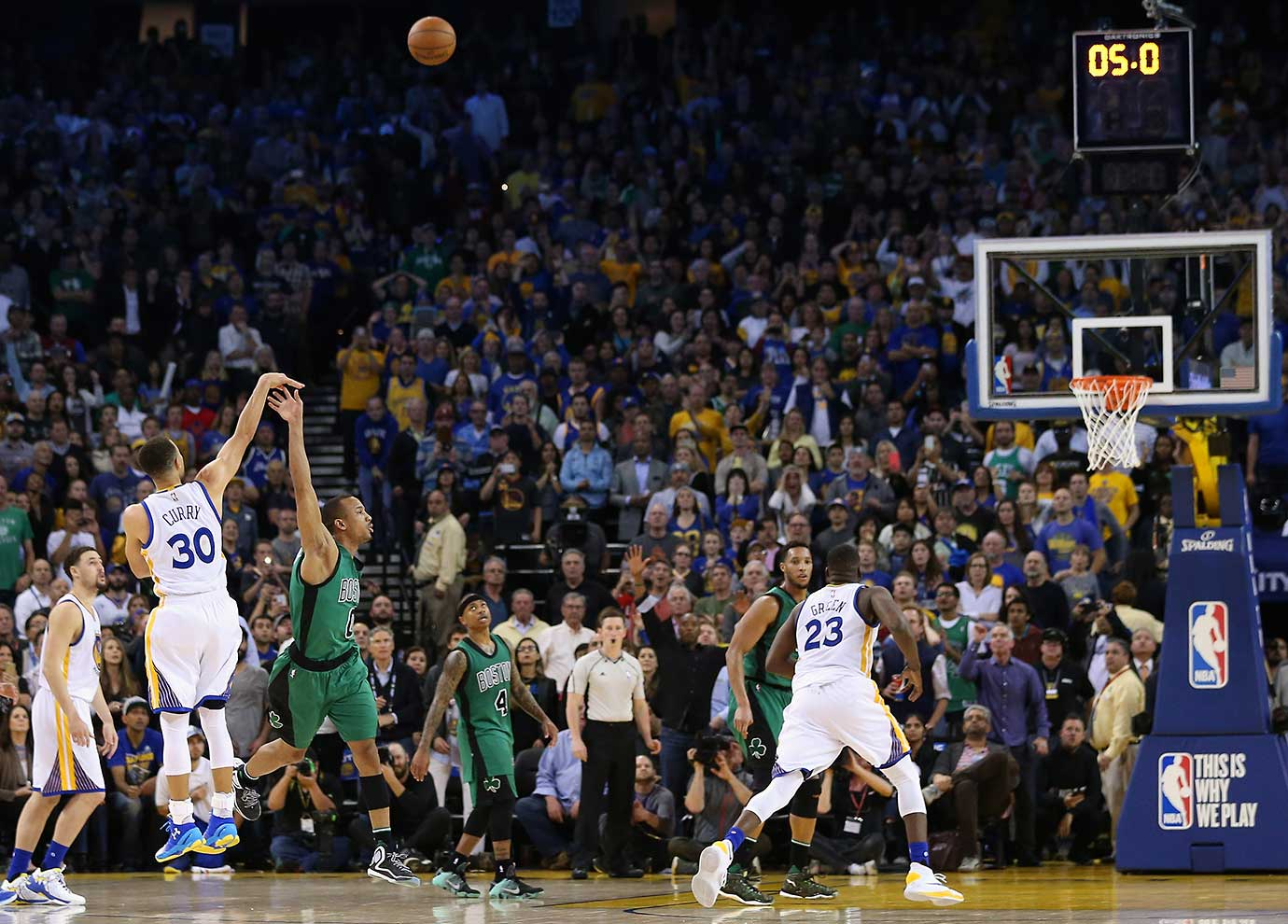 On a night in which Golden State hit 20 three-pointers, Steph Curry missed this one in the closing seconds, which would have tied the game against Boston. Instead the Celtics won 109-106.