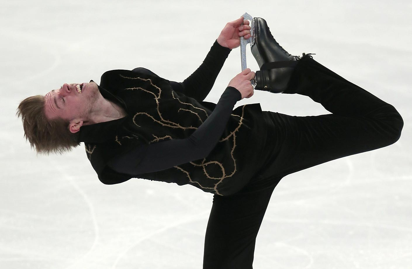 Stephane Walker skates his short program during the European Figure Skating championships in Stockholm, Sweden.