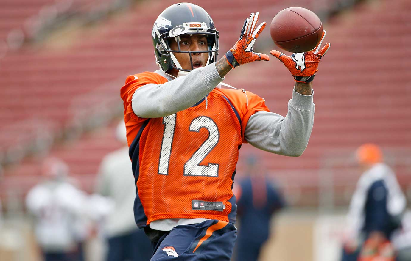 Andre Caldwell catches the ball during the Broncos practice at Stanford University.