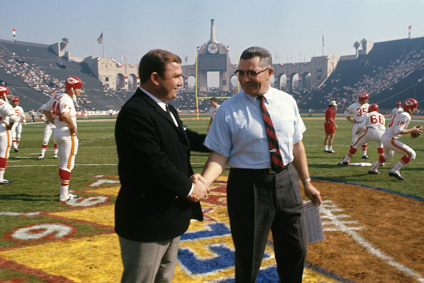 Hank Stram and Vince Lombardi