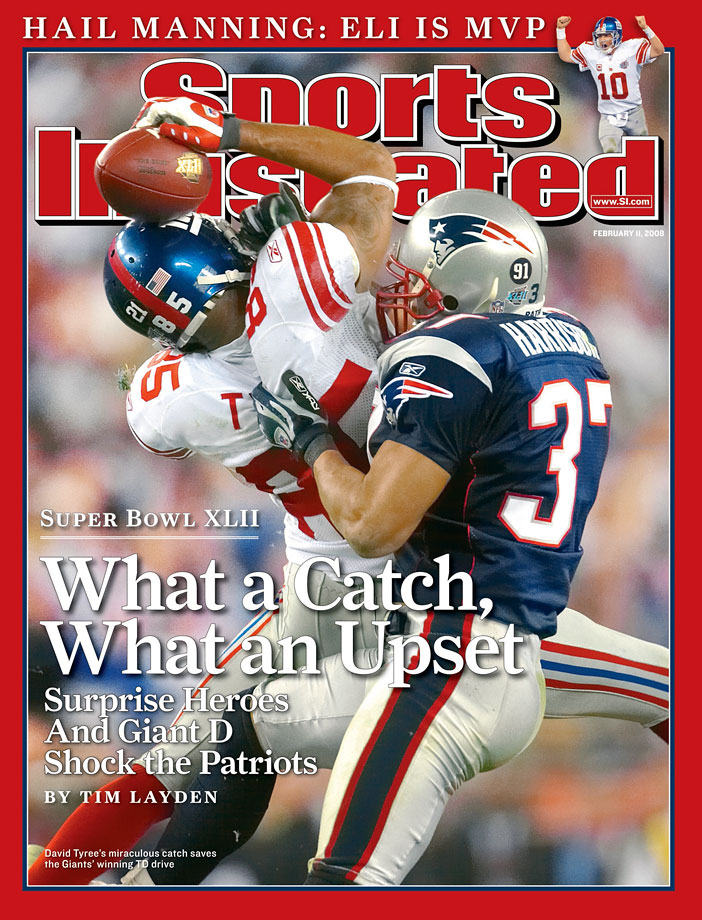 When arguably the greatest play in Super Bowl history is crucial to the winning drive against an undefeated, seemingly invincible team, you've got a valid case for this one being one of the best ever. After New England took a 14-10 lead late in the fourth quarter, Eli Manning led the Giants on a gritty 12-play, 83-yard drive in the final minutes. It included his improbable escape from the clutches of the Patriots pass rush and 32-yard heave that David Tyree somehow caught and held to his helmet as he was tackled by Rodney Harrison. Four plays later, Plaxico Burress caught the winning TD with 35 seconds on the clock, ending New England's dream of 19-0 perfection.