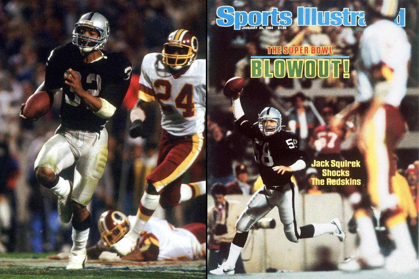 The Redskins were heavily favored after going 14-2, but Raiders running back Marcus Allen made the oddsmakers look dumb while rushing for a Super Bowl-record 191 yards on 20 carries. It was the most lopsided score in Super Bowl history at the time.