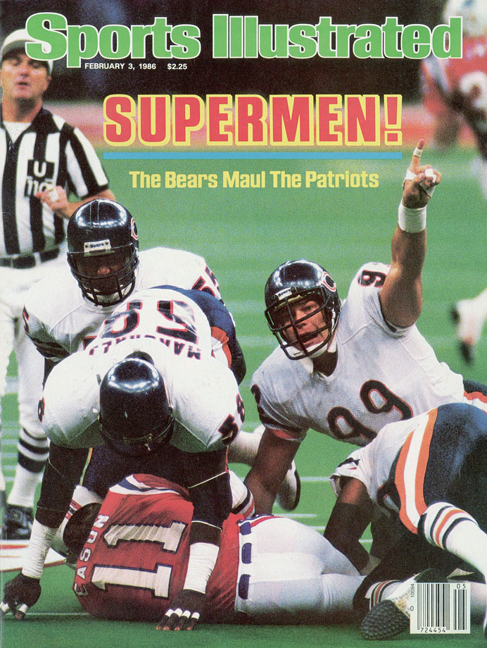 "The Bears did their Super Bowl shuffle all over the Patriots in a display of pure domination. Buddy Ryan's vaunted 46 Defense limited the Pats to just 123 yards for the game and New England made only one of their 10 third-down conversions. Fans weren't even treated to the great Walter Payton rushing for a touchdown. Jim McMahon, Matt Suhey and even defensive tackle William ""The Refrigerator"" Perry did the honors instead."