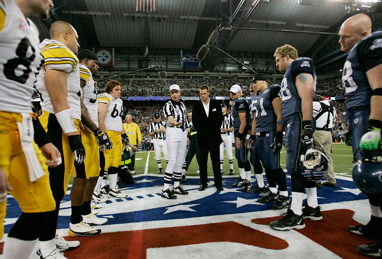 "Prior to the referee's coin toss, the call of ""heads"" or ""tails"" must be made by the captain of the visiting team, or by the captain designated by the referee if there is no home team. This one came about when, on the midfield coin flip before overtime in a Thanksgiving Day game between the Steelers and Lions, Pittsburgh running back Jerome Bettis called tails. Referee Phil Luckett told pool reporters after the game Bettis had called ''heads-tails'' and Luckett went with the first thing he heard. The Steelers kicked off and never saw the ball again in the 19-16 loss."