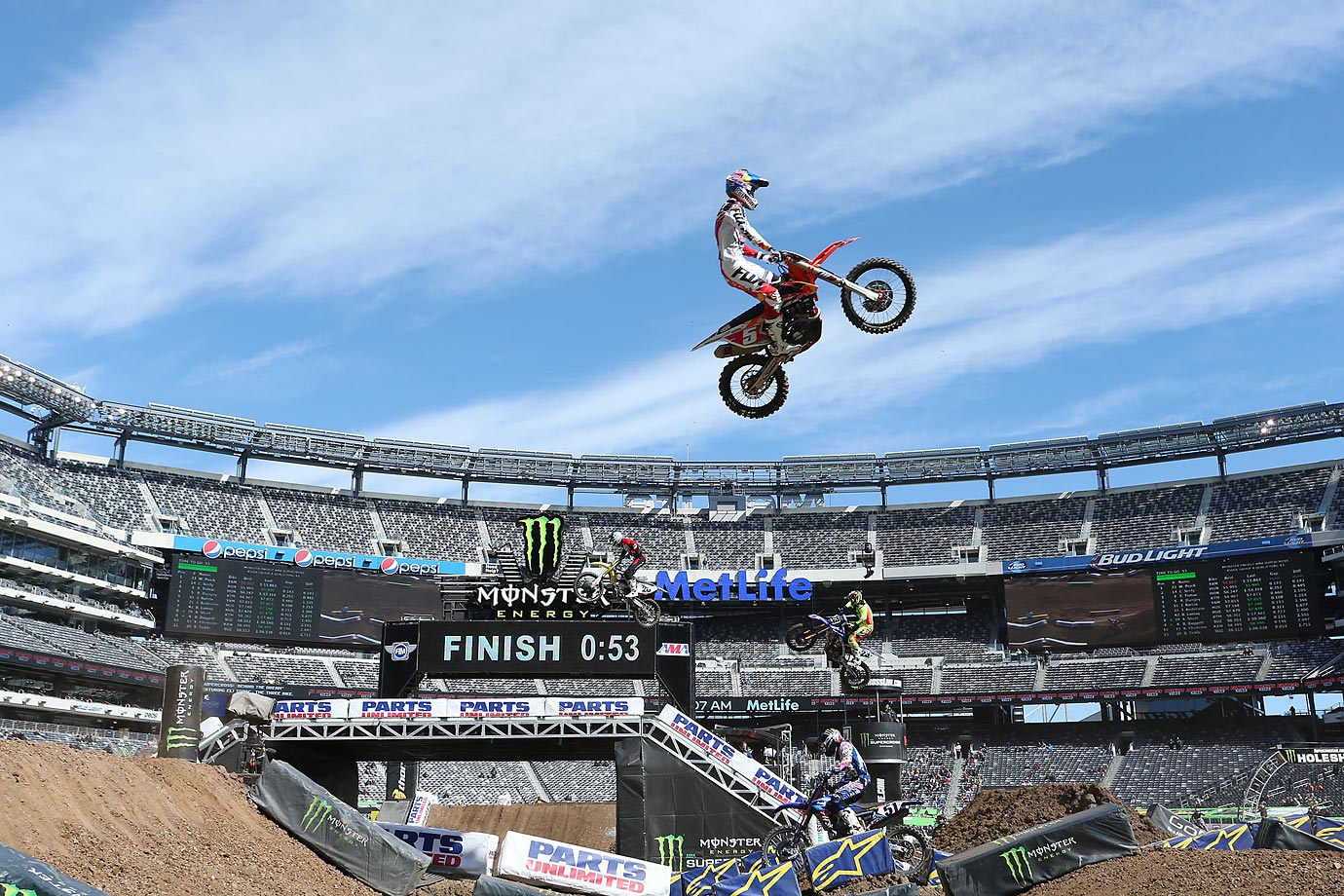 Ryan Dungey gets some big air in the triple jump during a practice run.