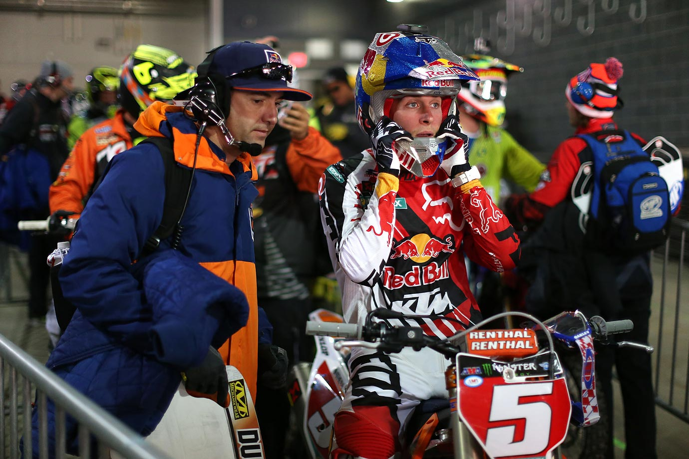 Dungey and his race team technician, Carlos Rivera, in the tunnel heading for a practice run.