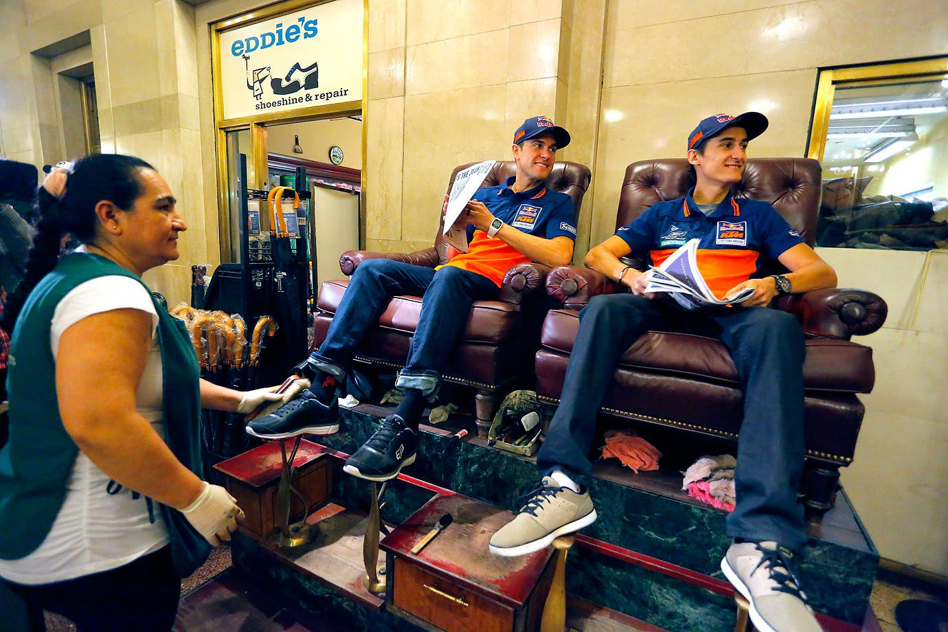 Dungey and racing team member Marvin Musquin having fun with a shoe shine at Grand Central Station.