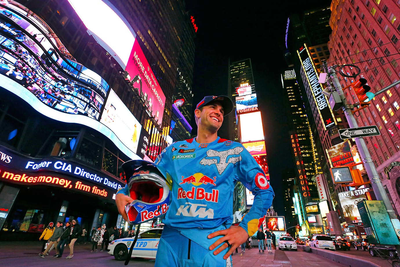 Ryan Dungey takes in the lights at Times Square.