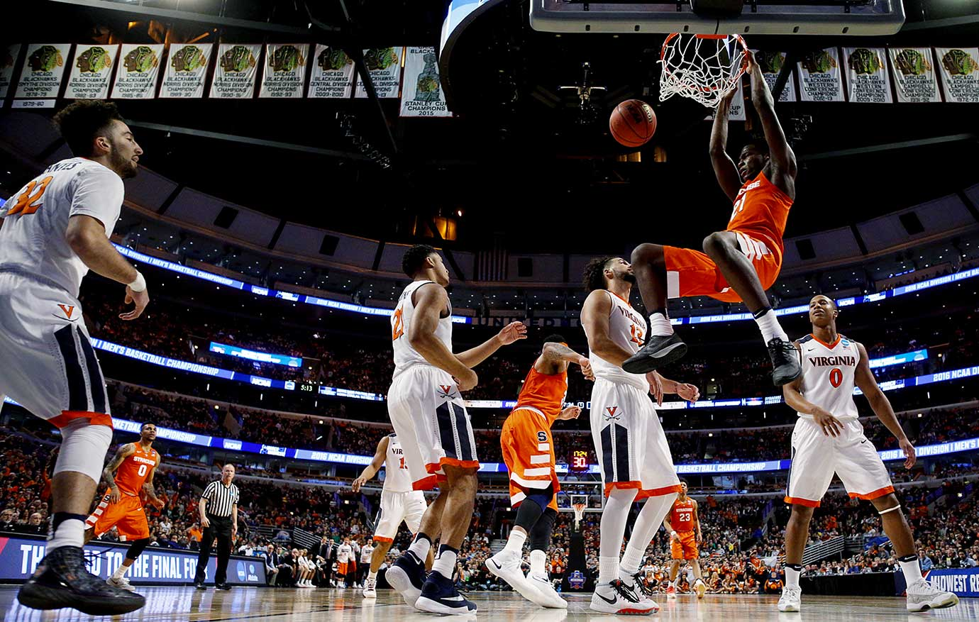 Tyler Roberson had 10 points and eight rebounds for Syracuse, which won the rebounding battle 36-34.